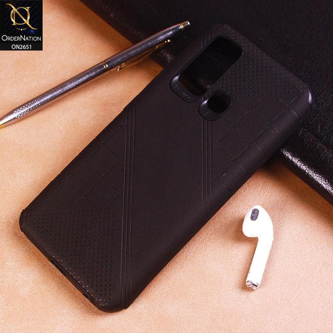 Vivo Y50 Cover - Black - Soft Stylish Leather Look Curved Line Case
