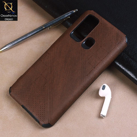 Vivo Y50 Cover - Brown - Soft Stylish Leather Look Curved Line Case