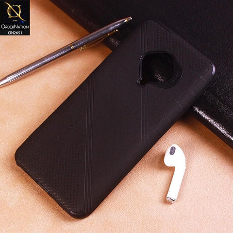 Vivo Y51 2020 Cover - Black - Soft Stylish Leather Look Curved Line Case