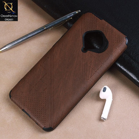 Vivo Y51 2020 Cover - Brown - Soft Stylish Leather Look Curved Line Case
