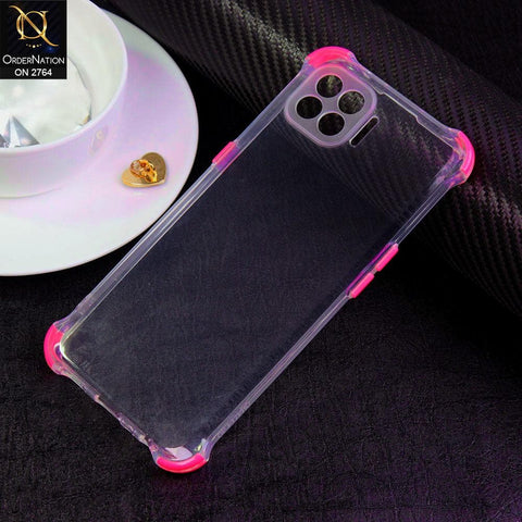Oppo F17 Pro Cover - Dark Pink - Soft Anti Shock Colorful Corner Back Clear Case