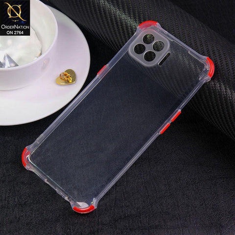 Oppo F17 Pro Cover - Red - Soft Anti Shock Colorful Corner Back Clear Case
