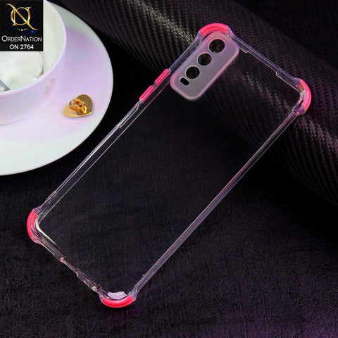 Vivo Y20i Cover - Dark Pink - Soft Anti Shock Colorful Corner Back Clear Case