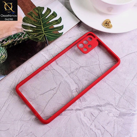Samsung Galaxy A51 - Red - Camera Protection Shiny Acrylic Anti-Shock Bumper Transparent Back Case