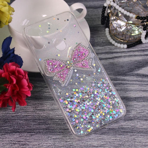 Samsung Galaxy M11 - Silver - New Trendy Rhinestone Butterfly Brouge Soft Case