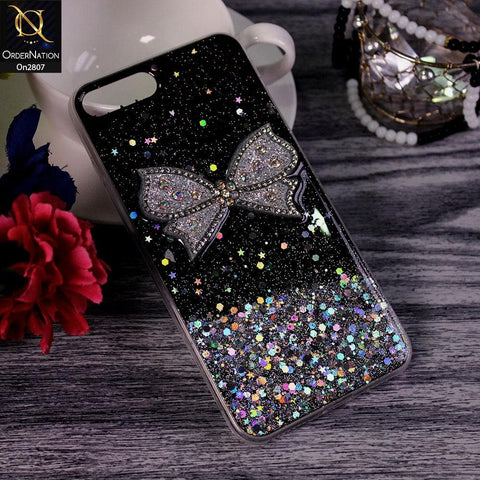 iPhone 8 Plus / 7 Plus - Black - New Trendy Rhinestone Butterfly Brouge Soft Case