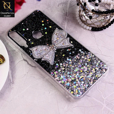 Huawei Y6p - Black - New Trendy Rhinestone Butterfly Brouge Soft Case