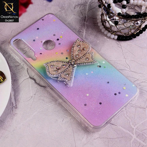 Huawei Y6p - Multi - New Trendy Rhinestone Butterfly Brouge Soft Case