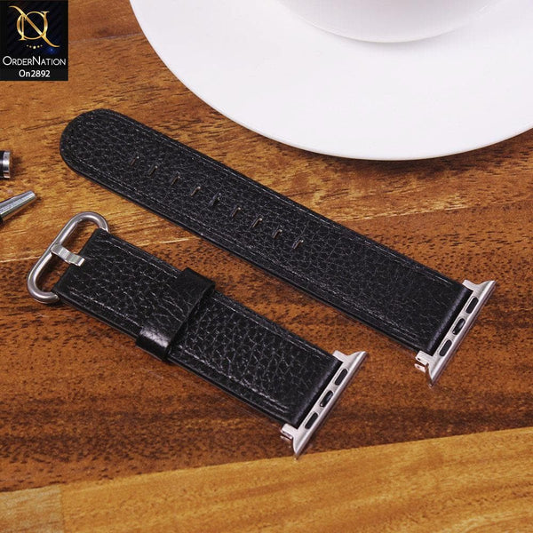 Apple Watch Series 6 (44mm) Strap - Black - Colorfull Leather Series Watch Strap - (Watch not included)