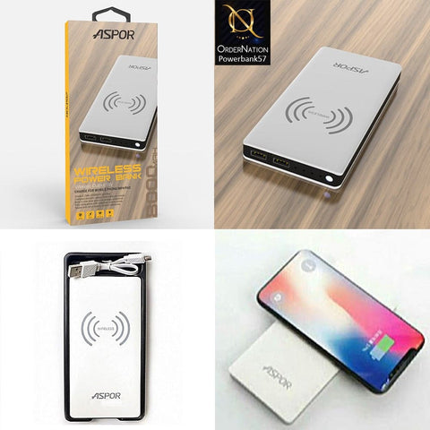Aspor 8000Mah Powerbank with Wireless Charging - White