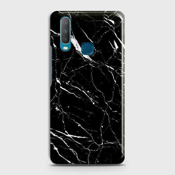 vivo Y15 Cover - Trendy Black Marble Printed Hard Case with Life Time Colors Guarantee
