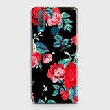 vivo Y15 Cover - Luxury Vintage Red Flowers Printed Hard Case with Life Time Colors Guarantee