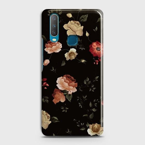 vivo Y15Cover - Dark Rose Vintage Flowers Printed Hard Case with Life Time Colors Guarantee