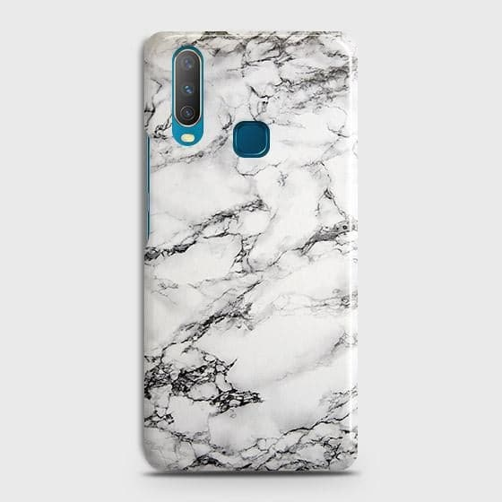 vivo Y15 Cover - Trendy White Floor Marble Printed Hard Case with Life Time Colors Guarantee