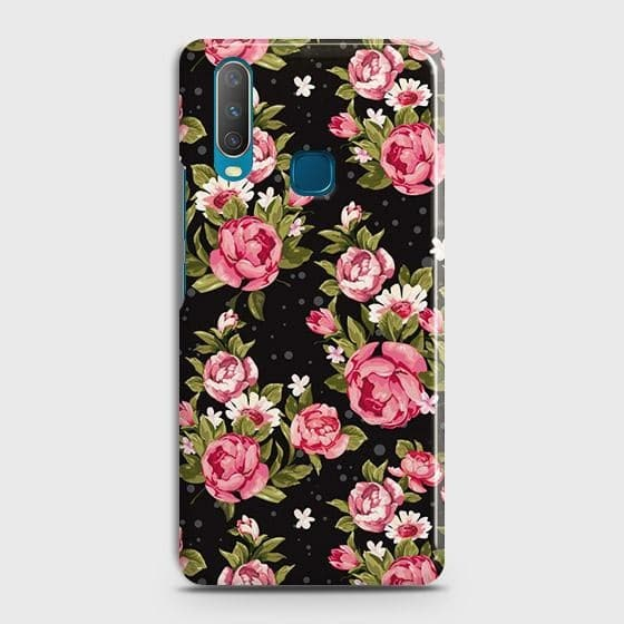 vivo Y15 Cover - Trendy Pink Rose Vintage Flowers Printed Hard Case with Life Time Colors Guarantee