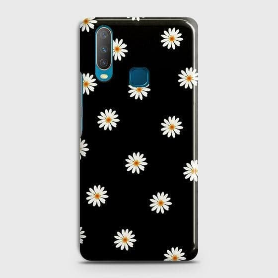 vivo Y15 Cover - White Bloom Flowers with Black Background Printed Hard Case with Life Time Colors Guarantee