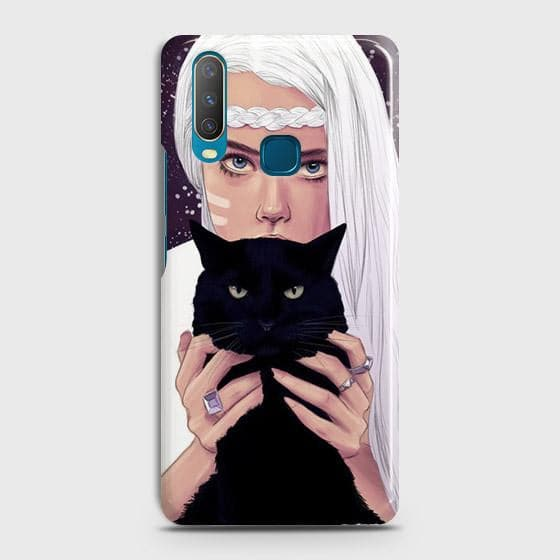 vivo Y17 Cover - Trendy Wild Black Cat Printed Hard Case with Life Time Colors Guarantee