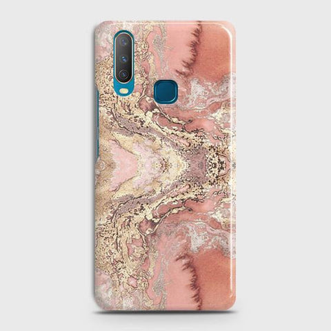 Trendy Chic Rose Gold Marble 3D Case For vivo Y17