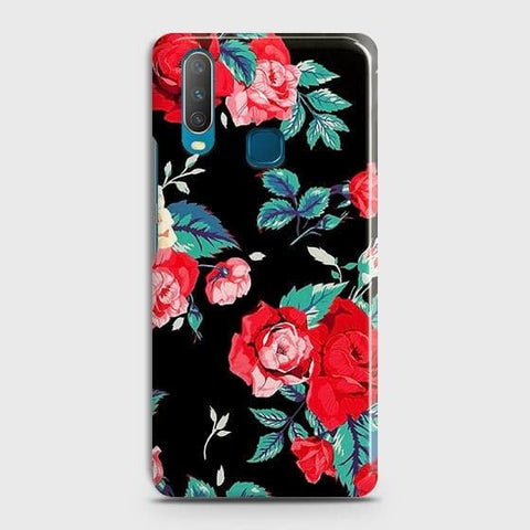 Luxury Vintage Red Flowers Case For vivo Y17