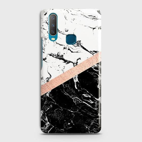 Printed Black & White Marble With Chic RoseGold Strip Case with Life Time Colors Guarantee For vivo Y17