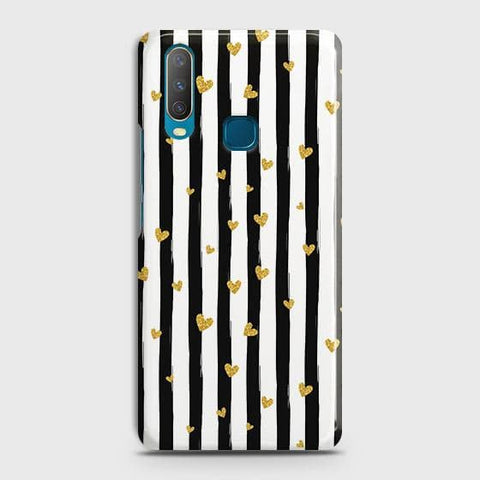 Trendy Black & White Strips With Golden Hearts Hard Case For vivo Y17