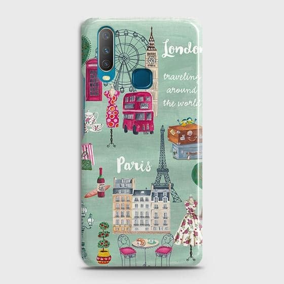 vivo Y17 Cover - London, Paris, New York ModernPrinted Hard Case with Life Time Colors Guarantee