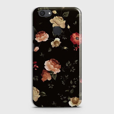 vivo Y81 Cover - Dark Rose Vintage Flowers Printed Hard Case with Life Time Colors Guarantee