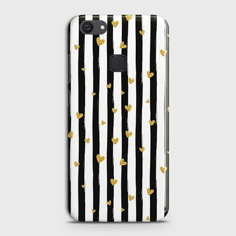 vivo Y81 Cover - Trendy Black & White Strips With Golden Hearts Printed Hard Case with Life Time Colors Guarantee
