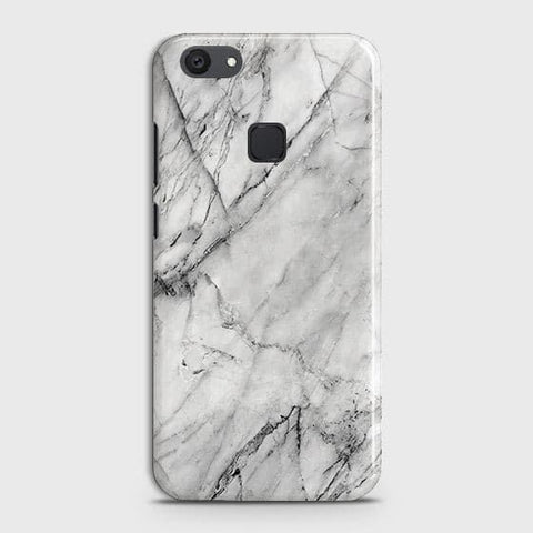 vivo Y81 Cover - Trendy White Floor Marble Printed Hard Case with Life Time Colors Guarantee