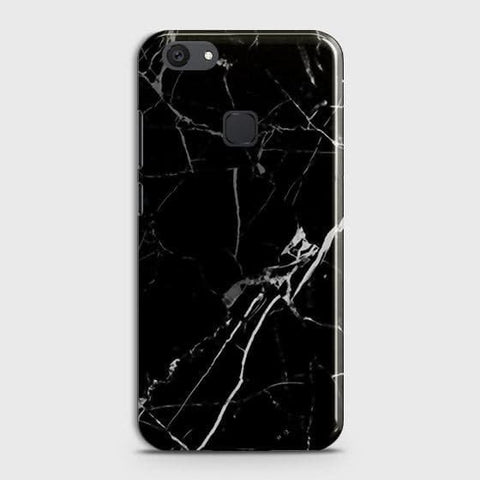 vivo Y81 Cover - Black Modern Classic Marble Printed Hard Case with Life Time Colors Guarantee