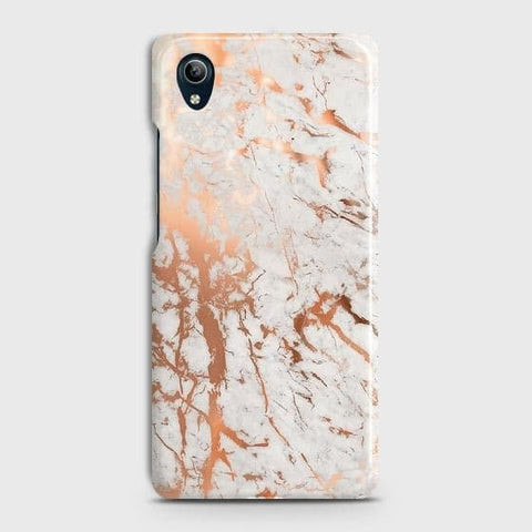 vivo Y91C Cover - In Chic Rose Gold Chrome Style Printed Hard Case with Life Time Colors Guarantee