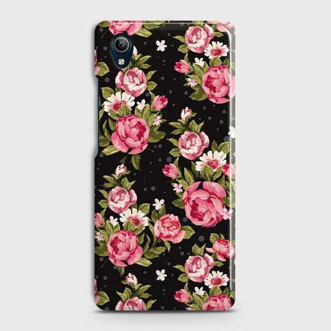 vivo Y91C Cover - Trendy Pink Rose Vintage Flowers Printed Hard Case with Life Time Colors Guarantee