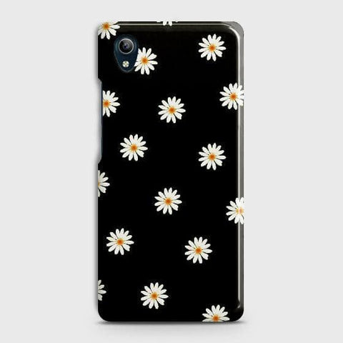 vivo Y91C Cover - White Bloom Flowers with Black Background Printed Hard Case with Life Time Colors Guarantee