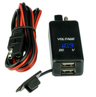 MotoPlug Dual USB Port Adapter with Voltmeter