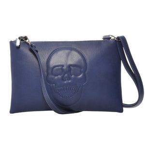 Mechaly Women's Skully Blue Vegan Leather Skull Clutch Crossbody Handbag-AllEthical.com - The Vegan Shop