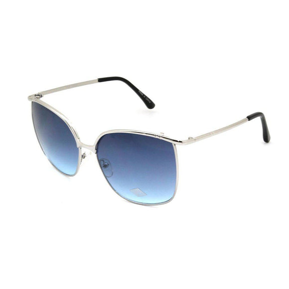 Mechaly Rectangle Style Sunglasses with Silver Frame & Blue Lens-AllEthical.com - The Vegan Shop