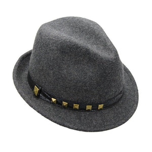 Mechaly Women's Heather Grey Studded Fedora Hat-AllEthical.com - The Vegan Shop