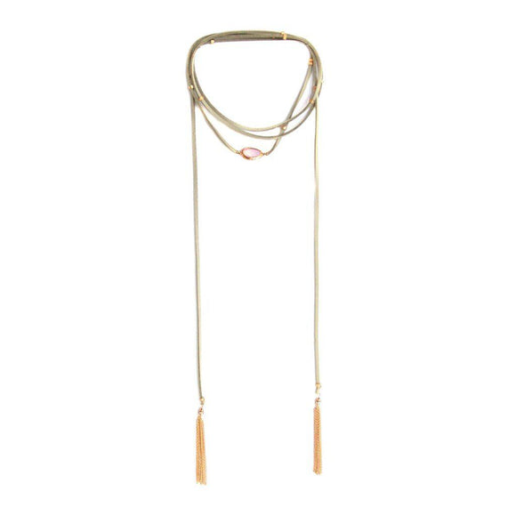 Desert Ranch Bolo Wrap in Light Grey and Gold-AllEthical.com - The Vegan Shop