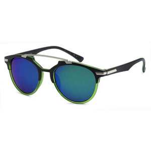 Mechaly Square Style Sunglasses with Black & Green Frame & Blue Mirror Lens-AllEthical.com - The Vegan Shop