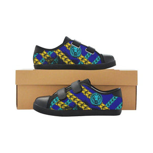 Kids Shoes Blue Chain Velcro Black Trainers-AllEthical.com - The Vegan Shop