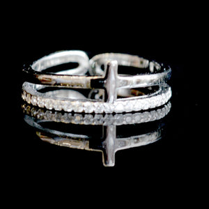 Akiva Sterling Silver Cross Ring-AllEthical.com - The Vegan Shop