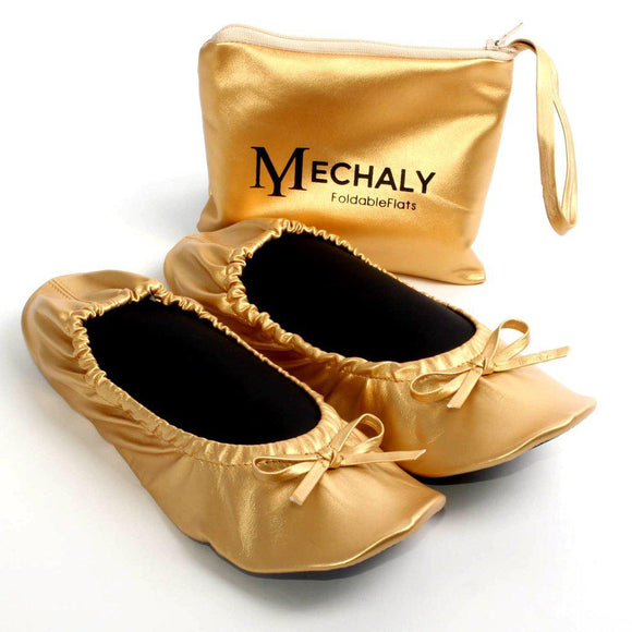 Mechaly Women's Gold Vegan Leather Foldable Flats-AllEthical.com - The Vegan Shop