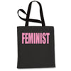 (Pink Print) Feminist Shopping Tote Bag