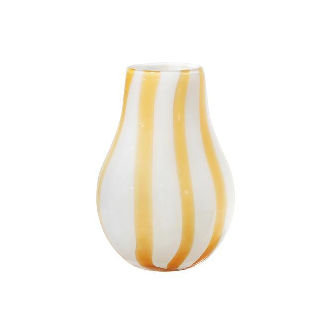 Broste Vase Ada Stripe Glas - golden fleece yellow 15,5x22,5 cm - noord®