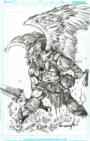 Sergio Davila Original Art Hawkman Illustration