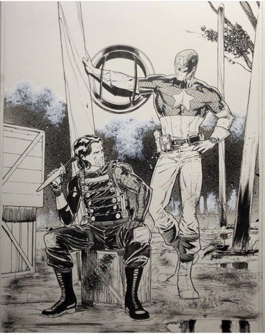 Javier Fernandez Original Art Captain America & Winter Soldier Illustration