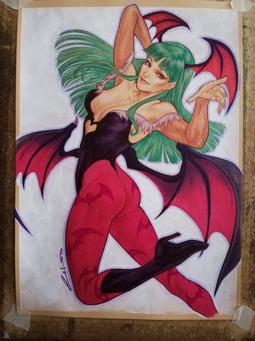 Emilio Laiso Original Art Morrigan Aensland Illustration