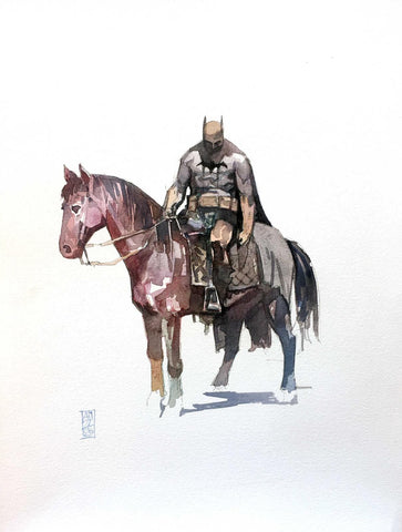 Alex Maleev Original Art Batman Horseback Illustration