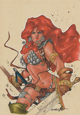 Sergio Davila Original Art Red Sonja Illustration