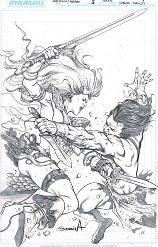 Sergio Davila Original Art Red Sonja Tarzan #5 Cover